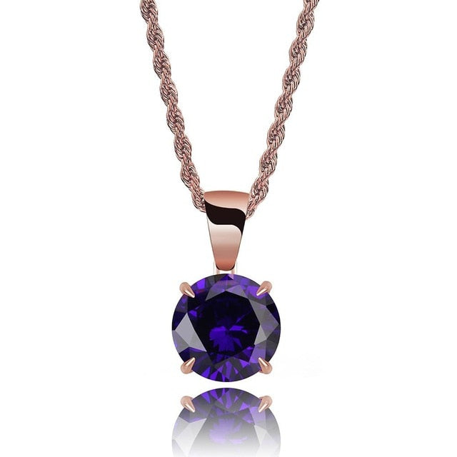 Rose Gold Chain With Violet Stone Cubic Zircon Charm Chain Necklace & Pendant - MajesticVUE