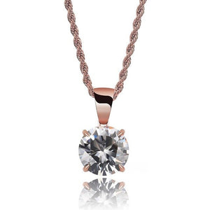 Rose Gold Chain With White Stone Cubic Zircon Charm Chain Necklace & Pendant - MajesticVUE