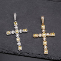 Gold & Silver Canary & Clear Princess Cut Solitaire Cross Pendant - MajesticVUE