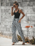 Charming Black White Stripes Bandage Wide-leg Pants