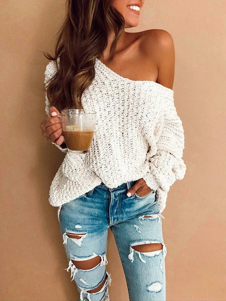 White Long Sleeves Sweater Tops