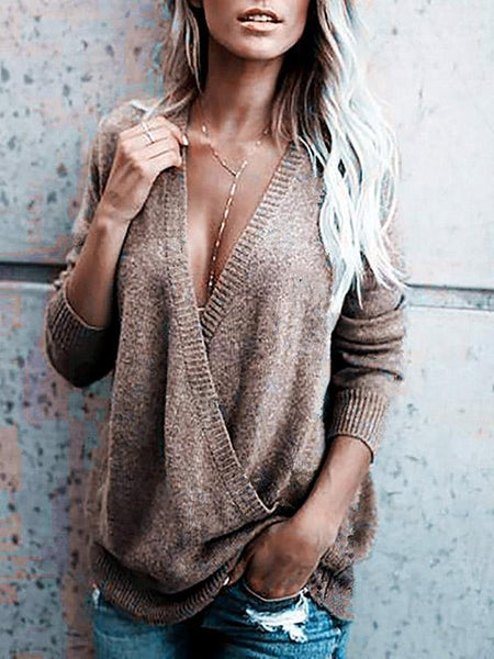 V-neck 4 Colors Sweater Tops
