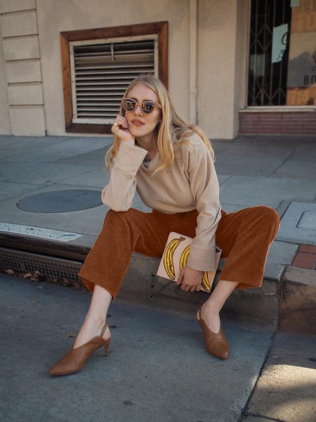 Stylish Corduroy Wide Leg Pants