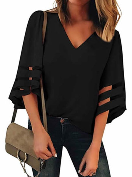 Graceful Cold Shoulder Flared Sleeves Blouses