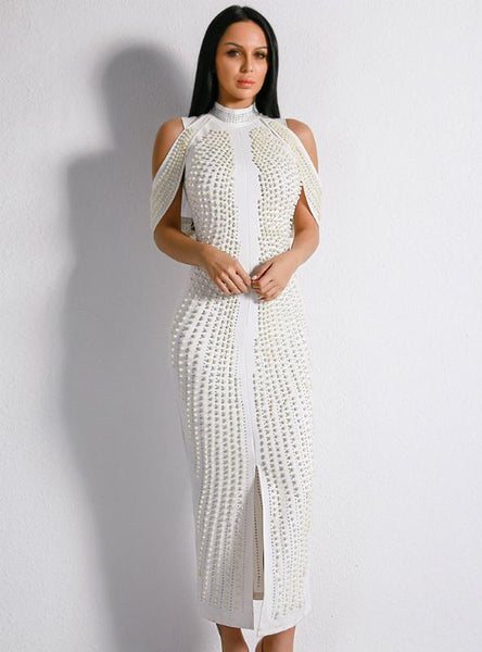SEXY SHEATH WHITE SHOULDER PEARL HIGH NECK PARTY DRESS