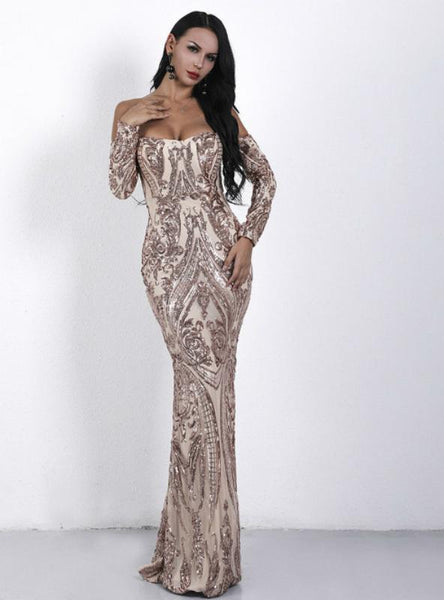 SEXY SHOULDER LONG SLEEVE RETRO SEQUINED PARTY DRESS