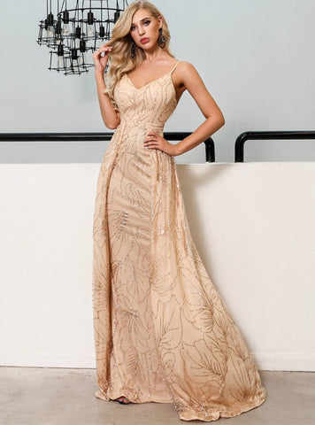 SEXY V-NECK ELEGANT GLITTER SEQUINS PARTY DRESS