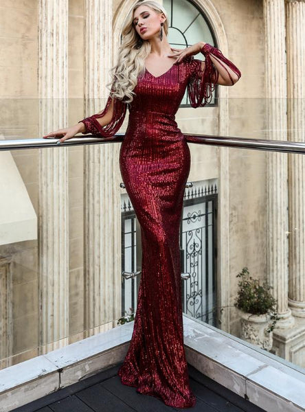 SEXY V-NECK LONG SLEEVE CORSET BODYCON LONG DRESS