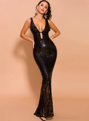 SLIM BLACK SEXY HOLLOW PARTY LONG EVENING DRESS