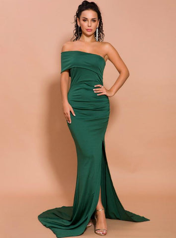 SINGLE SHOULDER EVENING DRESS LONG FASHION SLIM SPLIT