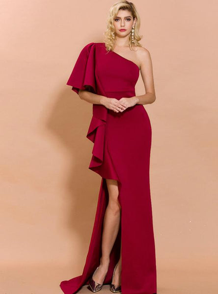 WOMEN LONG DRESS WITH IRREGULAR FLOUNCES