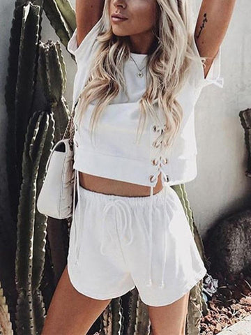 Cute Color Tops And Shorts Suits