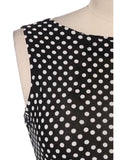 Gorgeous Jewel Neck Polka Dot Backless Sleeveless Dress