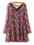 Stunning Long Sleeve Tiny Floral Dress + Spaghetti Strap Tank Top Twinset