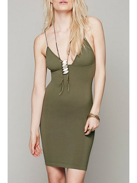 Cute Solid Color Bodycon Cami Dress