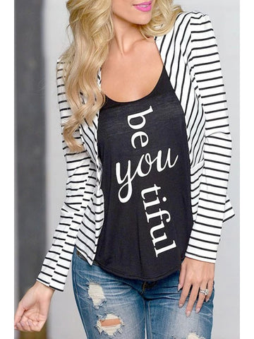 Trendy Open Front Long Sleeve Striped Blazer