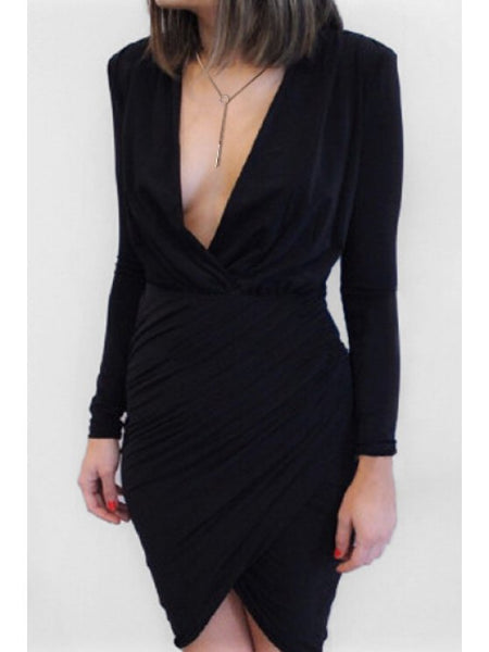 Gorgeous Plunging Neck Ruched Black Dress