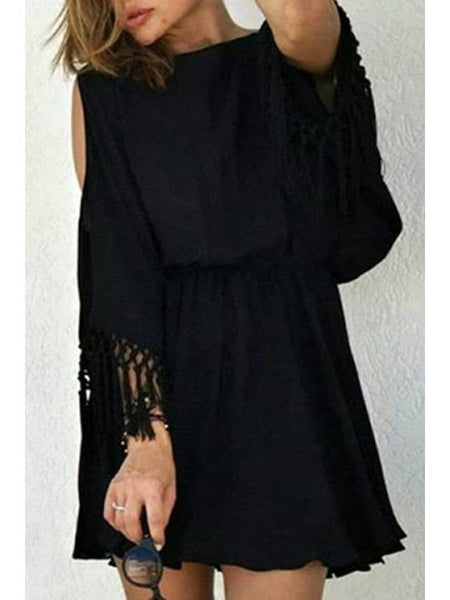 Trendy Cut Out Fringed Chiffon Dress