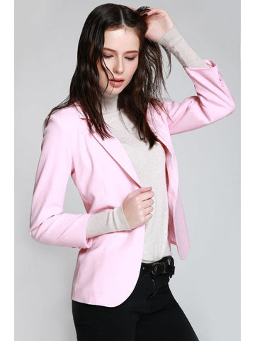 Trendy Lapel One Button Pink Blazer