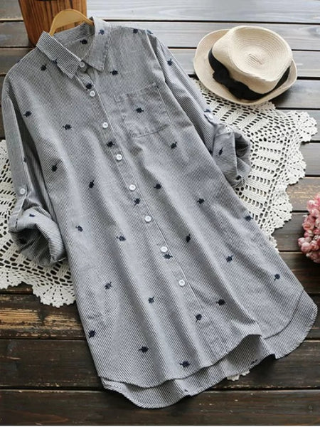 Fashion Leaf Embroidered Striped Pocket Tunic Shirt