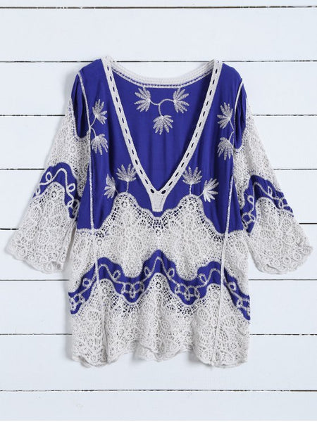 Gorgeous Plunging Neck Crochet Panel Blouse