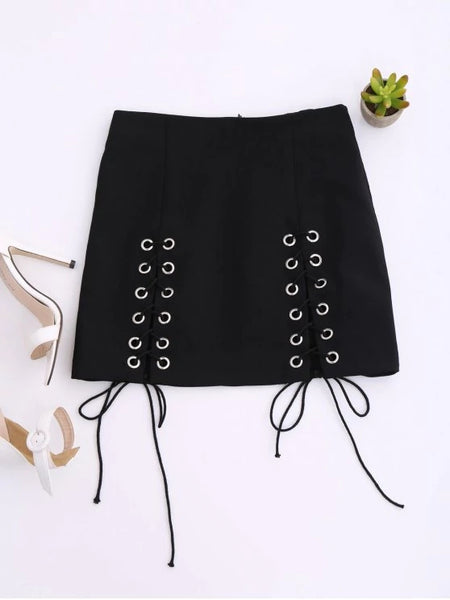 Trendy Punk Lace Up Mini Skirt