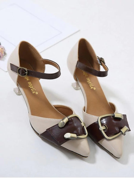 Gorgeous Two Piece Buckle Strap Strange Style Pumps