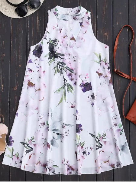 Cute Sleeveless Floral Flowy Holiday Dress