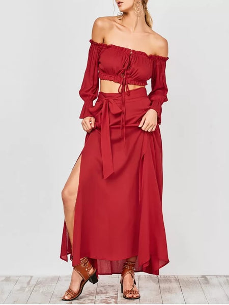 Cropped Off The Shoulder Top and Belted Slit A-Line Skirt