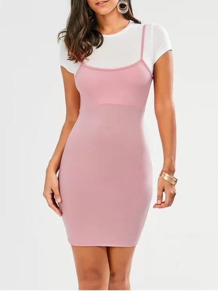 Stunning Faux Straps Color Block Bodycon Dress
