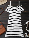 Cute Spaghetti Strap Cold Shoulder Striped Knit Dress