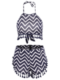 Zig Zag Halter Crop Top and Shorts Suit