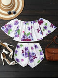 Off Shoulder Floral Crop Top and Shorts