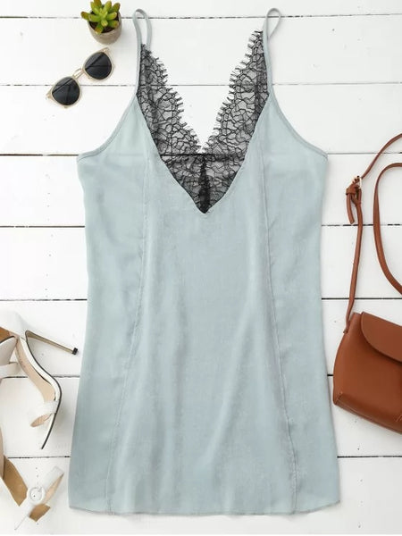 Pretty Cami Lace Panel Satin Backless Dress