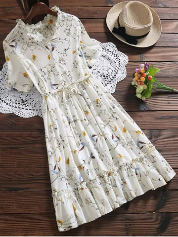 Trendy Ruffle Hem Oversized Floral Dress