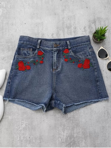 Trendy Cutoffs Rose Embroidered Denim Shorts