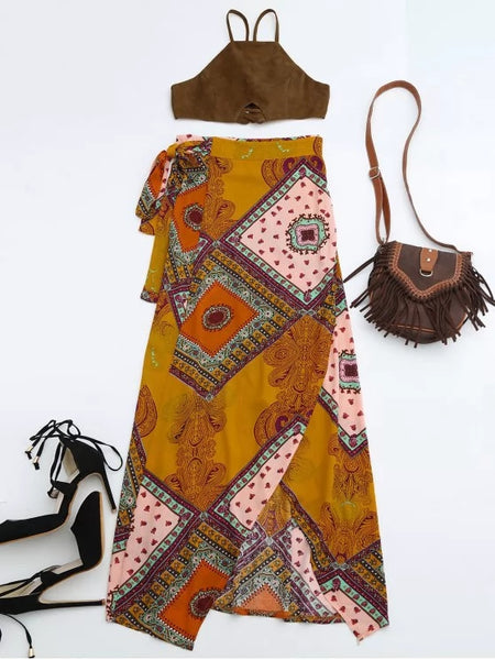 Cropped Faux Suede Top and Wrap Tribal Print Maxi Skirt