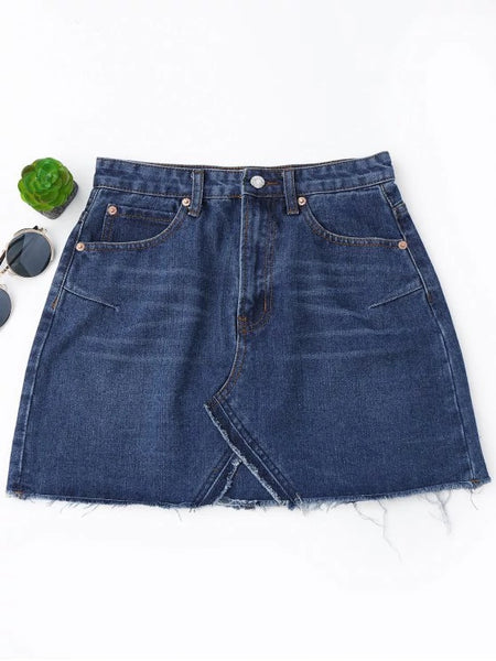 Chic High Waisted Cutoffs Mini Denim Skirt
