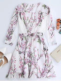 Trendy Floral Surplice Chiffon Flowy Dress