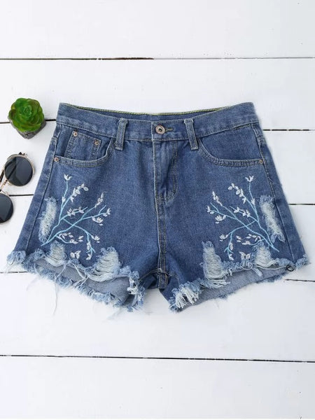 Trendy Embroidered Cutoffs Ripped Denim Shorts