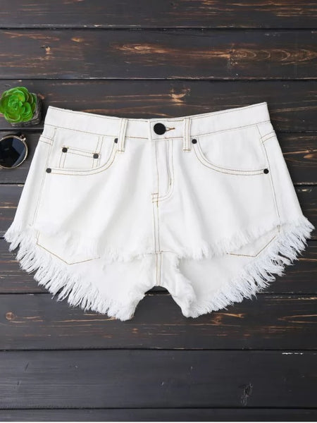 Trendy Cutoffs High Low Denim Shorts