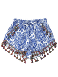Fashion Printed Ethnic Tassels Shorts