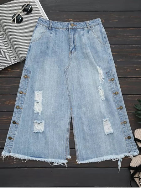 Trendy Ripped Button Up Wide Leg Capri Jeans
