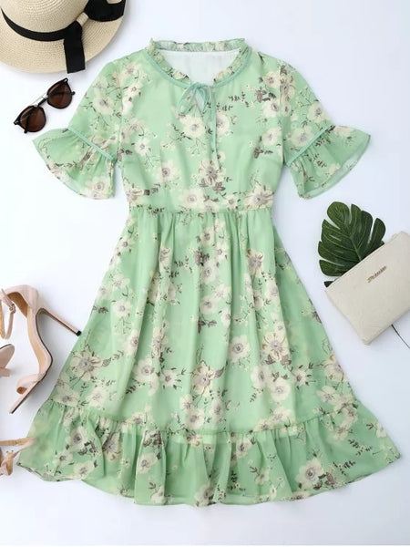 Stunning Ruffles Tiny Floral Chiffon Dress