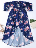 Stunning Off Shoulder High Low Floral Dress