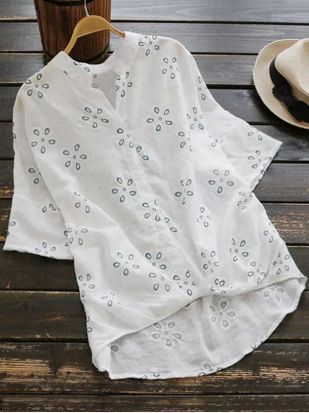 Chic Loose Embroidered Linen High Low Blouse