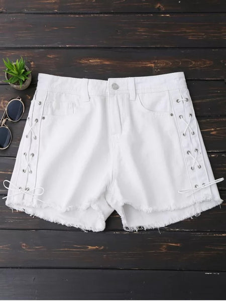 Trendy Frayed Hem Side Lace Up Denim Shorts