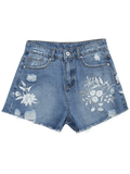 Trendy Cutoffs Ripped Floral Embroidered Denim Shorts