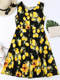 Trendy Lemon Print Sleeveless Flare Dress