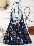 Fun Halter Plunge Backless Floral Dress